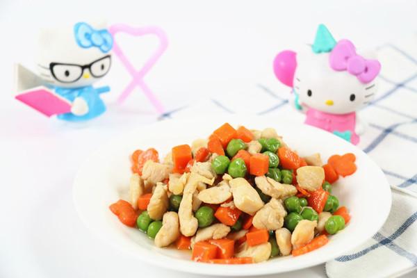 鸡胸肉爆豌豆胡萝卜的做法
