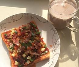 快手早餐微波炉吐司披萨的做法