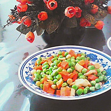 胡萝卜海鲜菇炒小青豆