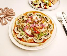 口蘑海陆披萨的做法