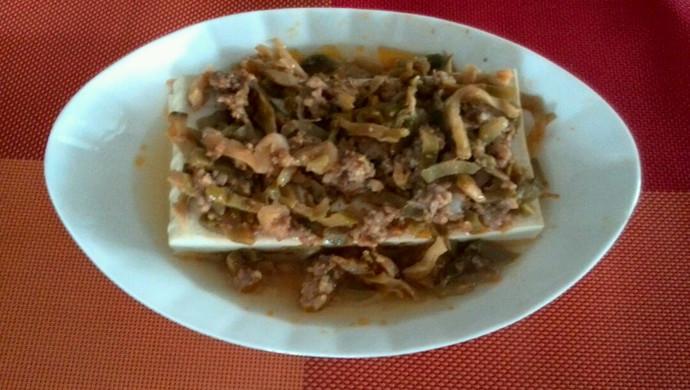 榨菜、肉末蒸豆腐