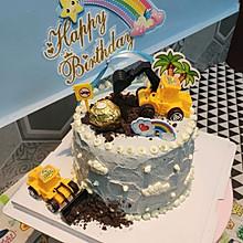 6寸生日蛋糕挖土机蛋糕男孩蛋糕
