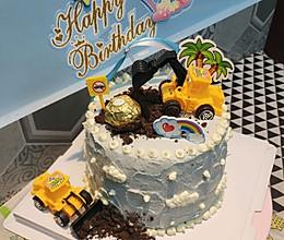 6寸生日蛋糕挖土机蛋糕男孩蛋糕的做法