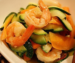 虾仁炒胡萝卜西葫芦的做法