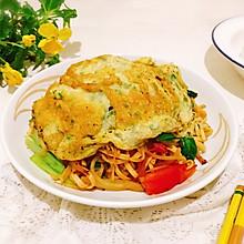 #花10分钟,做一道菜!#蛋帽炒面