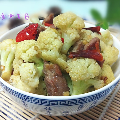 肉片干椒炒花菜