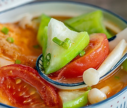 丝瓜番茄鸡蛋汤丨酸甜开胃的做法