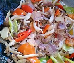 椒蘑炒腊肠的做法