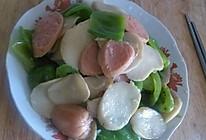 青椒杏鲍菇炒火腿的做法