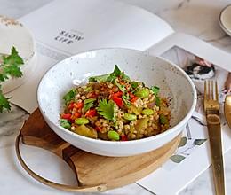 双茄烩荞麦饭的做法