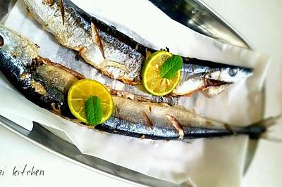 柠香盐煎秋刀鱼