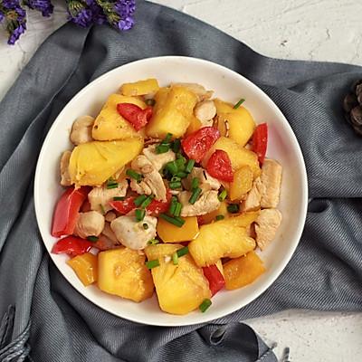 菠蘿炒雞胸肉(椰子油版)