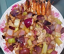 虾头油炒双素的做法
