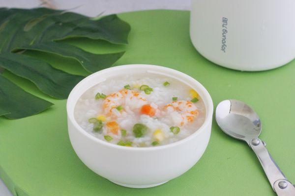 田园鲜虾粥(焖烧罐版)的做法