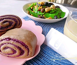 #换着花样吃早餐#健康减脂餐荞麦面紫薯馒头的做法