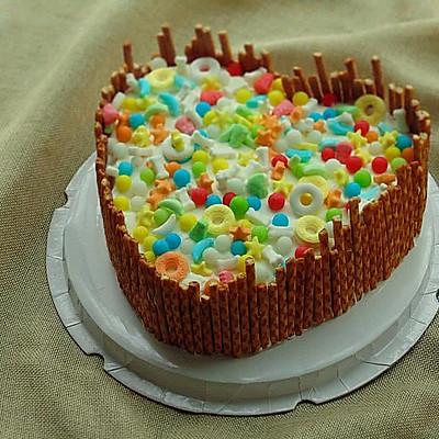 糖果爱心蛋糕