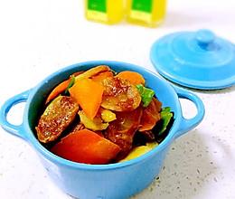胡萝卜炒腊肠#沃康山茶油#的做法
