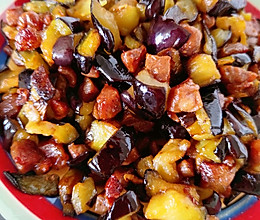 茄丁炒肉的做法