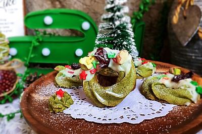 圣诞花环抹茶曲奇