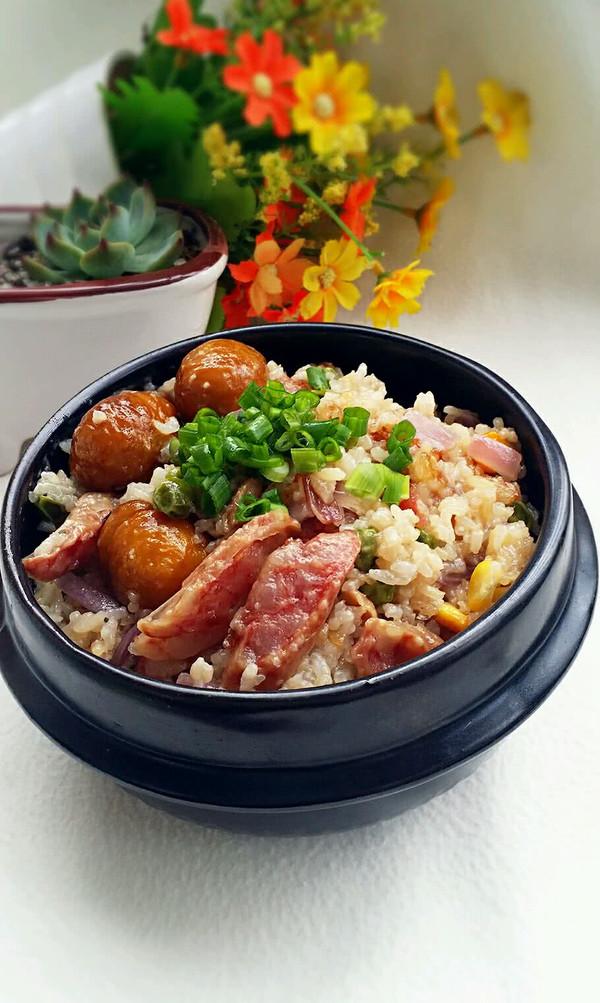 腊肠什锦焖饭的做法