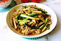杏鲍菇蒜苔炒肉丝的做法