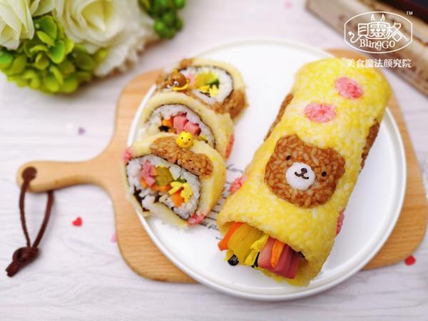 萌萌哒爱心熊手卷寿司,馋哭隔壁小孩~的做法