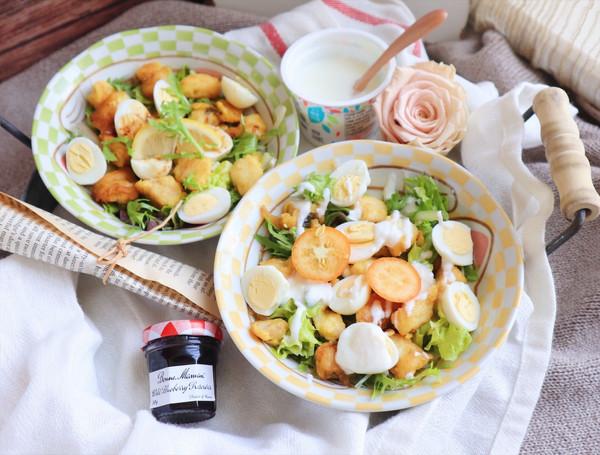 黄金鳕鱼鹌鹑蛋沙拉的做法