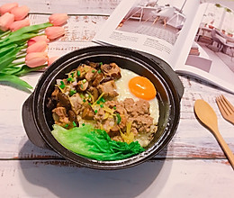 #父亲节,给老爸做道菜#咸鱼肉饼排骨煲仔饭的做法