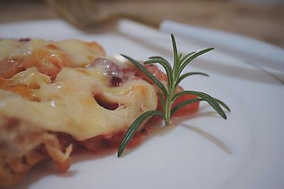 红虾鱼肠水果pizza