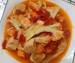 家常减脂餐之茄汁花菜焖冻豆腐的做法