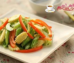 彩椒西芹炒玉米笋的做法