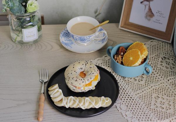 无油少糖健康早餐包—黑芝麻贝果的做法