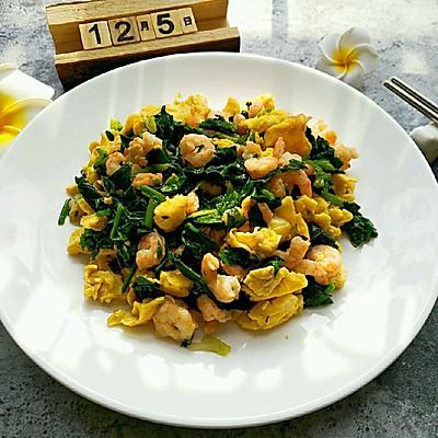 菠菜虾仁炒蛋