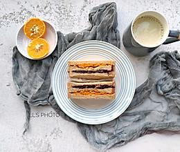 甜咸相宜快手早餐:黑米南瓜肉松全麦三明治的做法
