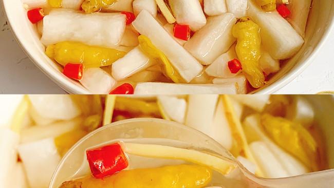 超级开胃爽脆❗️❗️低脂零卡的酸甜泡椒萝卜的做法