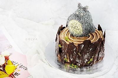 龙猫造型树桩蛋糕