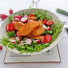 #做道懒人菜,轻松享假期#三文鱼蔬菜沙拉