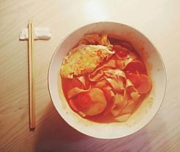番茄餐蛋宽面的做法