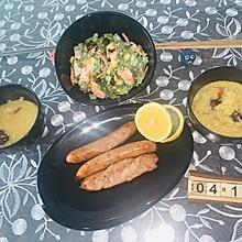 减肥营养健康早餐 海鲜蔬菜沙拉莲子百合小米黄金粥