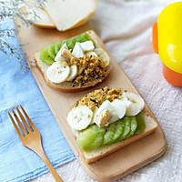 水果雞蛋肉松開放式三明治早餐的做法圖解9