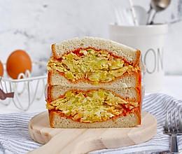 圆白菜烘蛋三明治#馅儿料美食,哪种最好吃#的做法