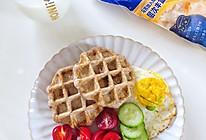 ㊙️酵母版‼️黑全麦咸蛋黄肉松黄金双酪华夫饼的做法
