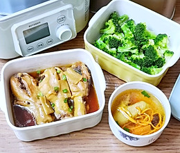营养美味:虫草花鸽子汤+酱油鸡腿+蒸西兰花的做法