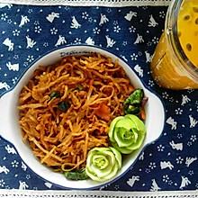 鱼香炒饼&百香果蜂蜜水