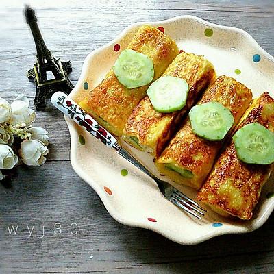 鸡蛋黄瓜吐司卷