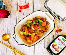 #百变鲜锋料理#鲍汁蚝油牛粒面包色拉的做法