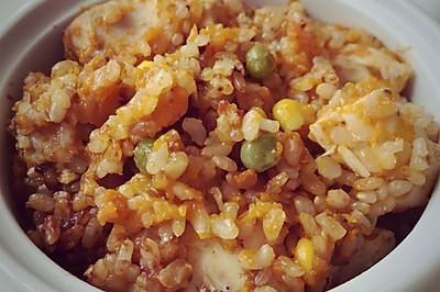南瓜鸡肉糙米饭
