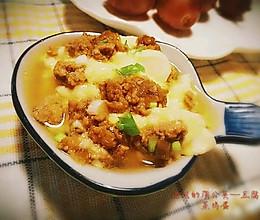 快手营养菜—肉末豆腐蒸鸡蛋的做法