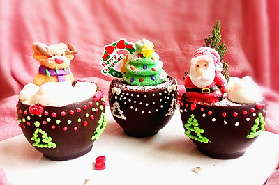 布朗尼圣诞盆栽蛋糕(盆子也可以吃哦)