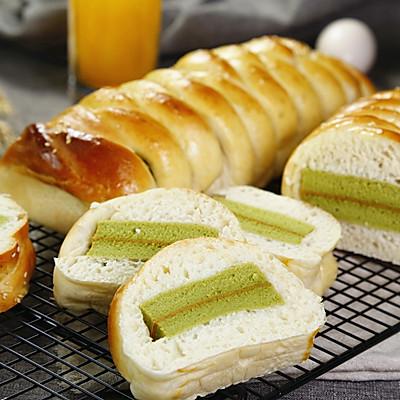 抹茶蛋糕夹心面包的做法